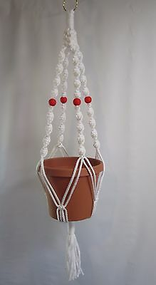 Macrame Plant Hanger 32 inch Deluxe  - White cord with Red Beads