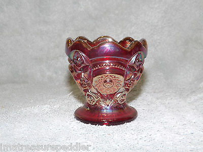 Imperial Hobstar Red Carnival Glass Toothpick Holder