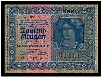 Austria 1000 Kronen 1922 (P-78) Serie 1801 - Great Addition!