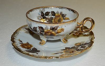Original Napco China Hand Painted Gilded Brown Roses 3 Legged Cup/Plate SD153