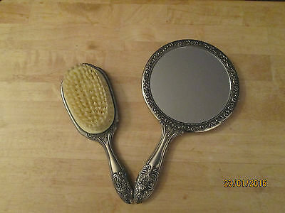 Vintage Towle Silversmith Victorian Style Floral Hand Mirror and Brush