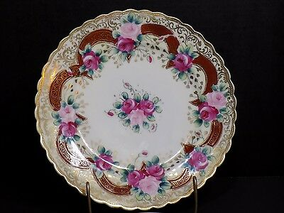 """Authentic Stunning Antique NIPPON Roses Red Ribbons Gold Beading 10.25"""" Plate"""