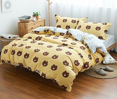 2016 Naver Line Character Brown Cony Bedding Set 4pc Queen King Bed Cotton RARE