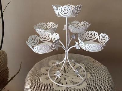 5 head White Rose Metal Cupcake Stand or Tealight Candleholder