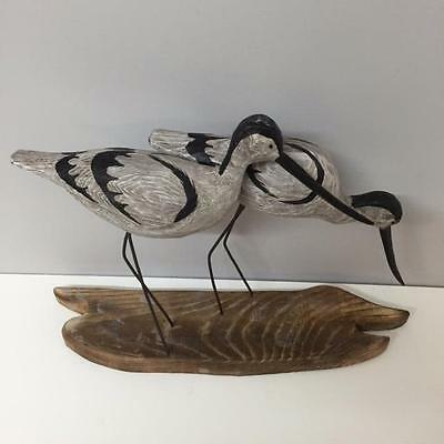 New WOODEN AVOCETS with metal legs on shoreline effect block NAUTICAL BEACH HOME