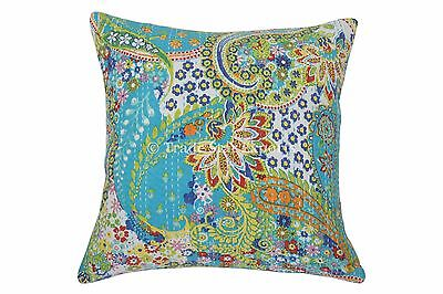 "Ethnic Kantha Cushion Covers 16"" Decorative Ethnic Pillows Throw Decor Shams Art"