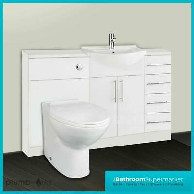 Bathroom Furniture Suite Vanity Unit Cabinet Toilet Basin Back To Wall 3 Drawer