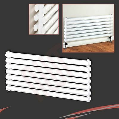 "1000mm(w) x 500mm(h) ""Brecon"" White DOUBLE Oval Tube Horizontal Radiator 4405btu"