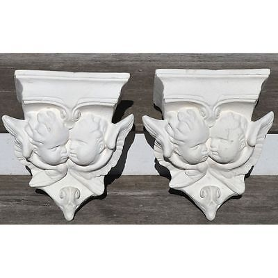 Beautiful Pair of Vintage Religious French Plaster Angels Salvaged Shelf Brac...
