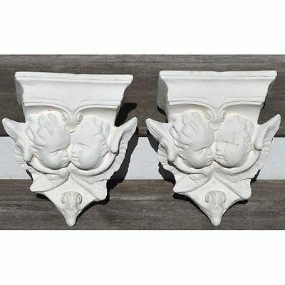 Pair Religious Decorative Architectural Salvaged Angel Cherub Brackets Corbels