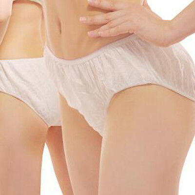 6Pcs Women White Disposable Non-Woven Briefs Panties Underwear