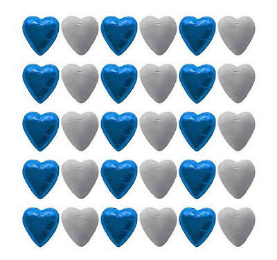 100 Cadbury Chocolate Blue And White Hearts-Wedding Favours Parties Candy Buffet
