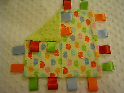 Yellow Elephant and Apple Green Dimple Minky Taggy/Comforter