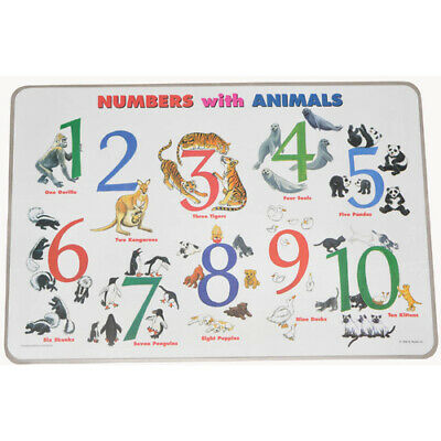 NUMBERS w/h ANIMALS Educational WIPE-OFF PLACEMAT Preschool Maths COUNTING