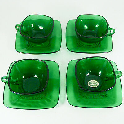 Vtg Set of 4 Anchor Hocking Forest Green Square Cup and Saucer Sets