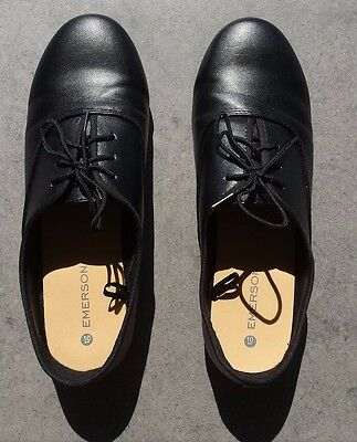 Emerson Ladies Lace Up Flats Size 10 Black Leather Womens Ballets Shoes Work