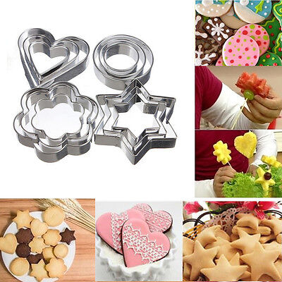 3pcs Stainless Steel Biscuit Cookie Cake Pastry Fondant Mold Mould Cutter Set