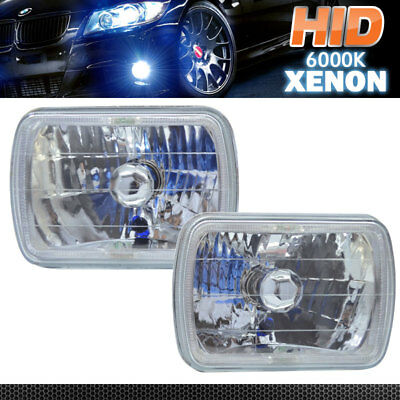 Fits 7X6 Diamond Clear Halo Headlights + H4 6000K Bi-Xenon HID