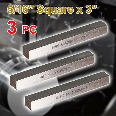 "3 PC HSS Tool Bits 5/16"" Square 3"" Long, M2 High Speed Steel Fully Gound"