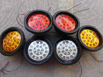 12V 130(105)mm Six Pieces Round 21 LED 022 Tail Lights 4 Ute Trailer Truck Bus