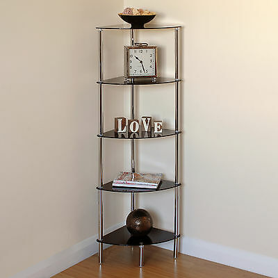 Hartleys 5 Tier Black Glass Side Corner Shelf/Display Unit Lounge/Hall/Bathroom