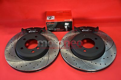 FRONT PERFORMANCE DRILLED GROOVED BRAKE DISCS + PADS KIT BMW E46 330i 330d 330Ci