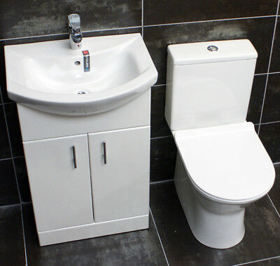 550mm Vanity Unit + Toilet Option Cloakroom Set Basin Sink Bathroom Suite + Tap