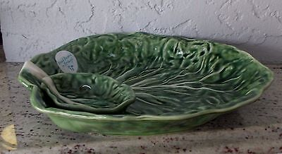 New Olfaire Majolica Portugal Green Cabbage Chip And Dip Plate Platter