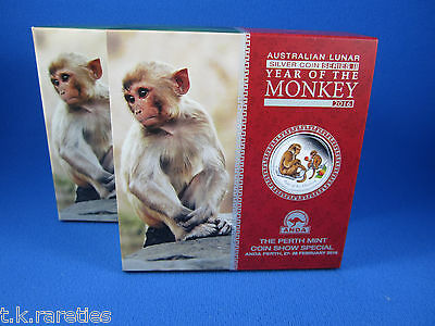 2016 Year of the MONKEY 2oz Silver Coloured Coin. Anda Show PERTH 27-28 FEB 2016