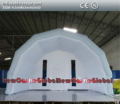 """custom made 14'9""""W X 9'10""""H X 9'10"""" D  inflatable stage cloth tent with blower"""