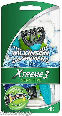 Wilkinson Sword Xtreme 3 Sensitive Mens Disposable Razor - Pack of 4