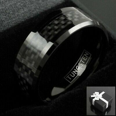 8mm Black Tungsten Ring with Black Carbon Fiber Men's Jewelry