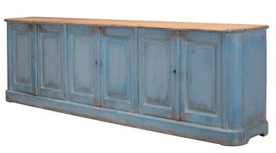 "119"" Long Ausilio Sideboard Cabinet Blue Old Solid Pine Wood Antique French Ligh"