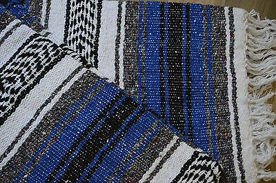 "Mexican Blanket Handwoven Falsa in ""Marine Blue"" LIGHTWEIGHT Yoga Serape Rug"