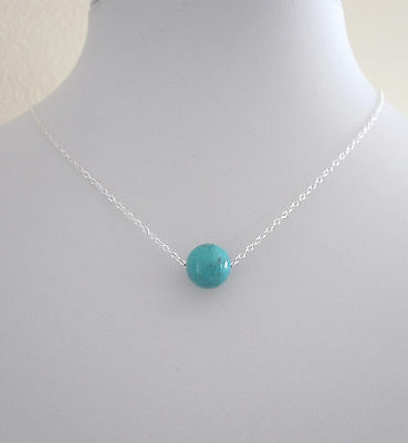 925 sterling silver turquoise blue Howlite 10mm gemstone floating necklace