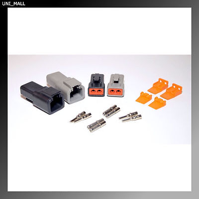 Deutsch DTP 2 Pin Genuine Black & Grey Connector Kit, 12-14AWG Solid Contacts