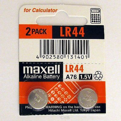 2 NEW LR44 MAXELL A76 L1154 AG13 357 SR44 303 BATTERY 12/2019, Alkaline Coin