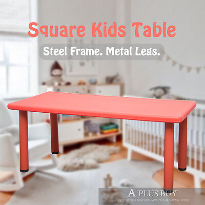 120cm Large Rectangle Kids Children Toddler Playing Dining Party Table Desk Red