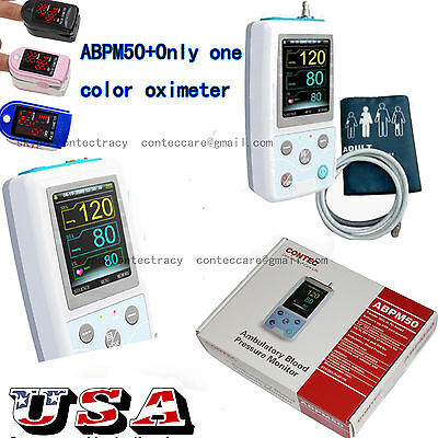 US 24h NIBP Holter Ambulatory Blood Pressure Monitor ABPM50,NIBP, free oximeter