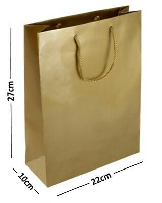10 LARGE GOLD LAMINATED GLOSS GIFT BAGS ~ROPE HANDLE BIRTHDAY FAVOURS 22x10x27cm