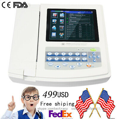US Digital 12-lead 12-channel Electrocardiograph ECG/EKG Machine,interpretation