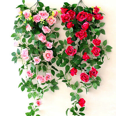 8Ft Artificial Rose Garland Silk Flower Leaf Vine Ivy Home Wedding Garden Decor