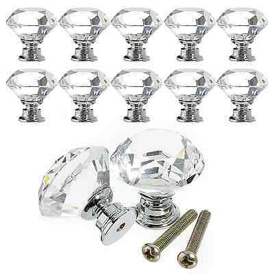 10pcs 30mm Diamond Crystal Glass Door Drawer Cabinet Pull Handle Knob Kitchen