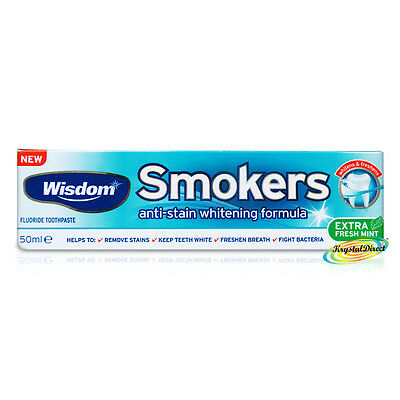 Wisdom Smokers Fluoride Extra Fresh Mint Anti Stain Whitening Toothpaste 50ml