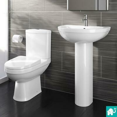 Bathroom Toilet WC Pan Dual Flush Cistern and Basin Sink Pedestal Set Suite