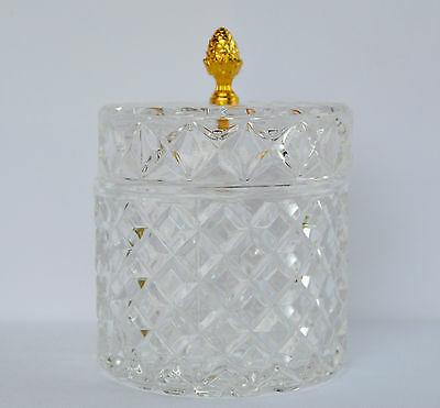 French Antique Molded Glass Jewelry Casket Trinket Box with Lid Large Round