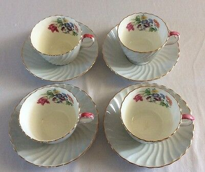 4 Vintage Aynsley Blue Swirl Floral Cups and Saucers.