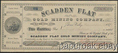1879 Scadden Flat Gold Mining Co. Grass Valley, California Stock Certificate
