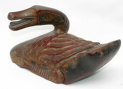 Antique Burmese Oriental Hand Wood carved Painted Wood Wooden Duck