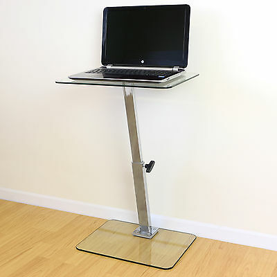 Clear Glass Adjustable Laptop/Notebook Table Stand Bed/Sofa Office Computer Desk